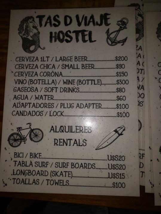 Pricing at Tas De Viaje Hostel