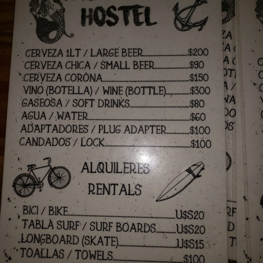 Pricing at Tas De Viaje Hostel